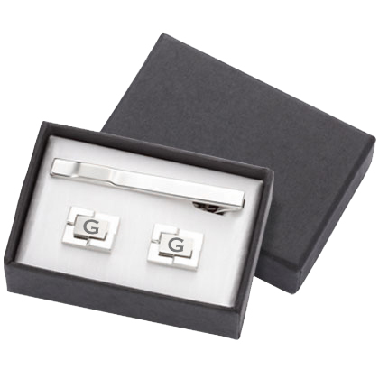 Description: Personalized Geometric Cufflinks and Tie Clip Set