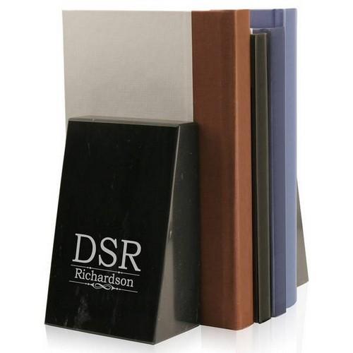 Description: Monogram Black Marble Bookends